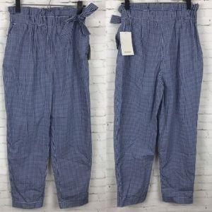 Zara Women Pants Blue Gingham Paper Bag Waist nwt
